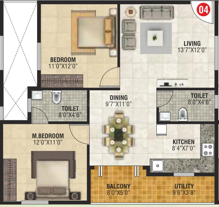 VGR Greens Floor Plan: 2 BHK Unit with Built up area of 684 sq.ft 1