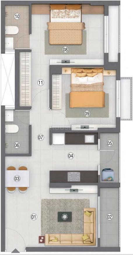 Adani Aster Phase 1 Floor Plan: 2 BHK Unit with Built up area of 635 sq.ft 1