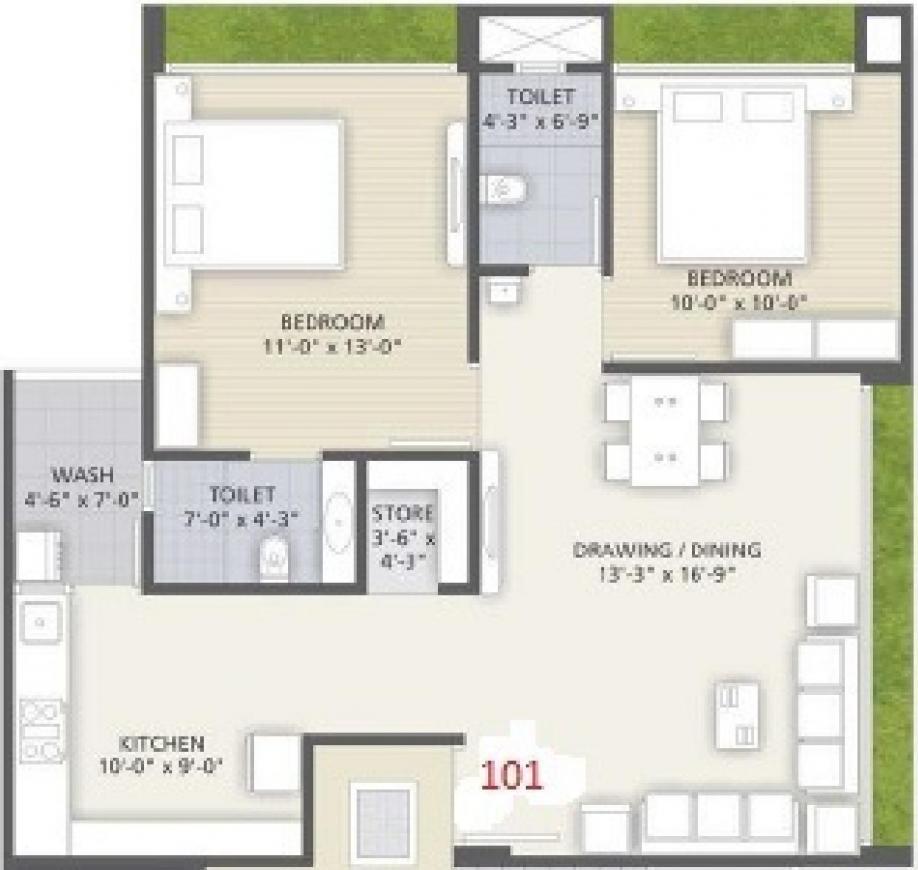 Ratnakar Samprati Elegance Floor Plan: 2 BHK Unit with Built up area of 1305 sq.ft 1