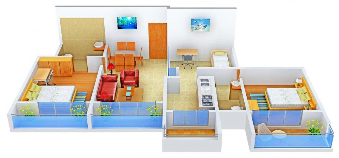 Floor Plan Image of 0 - 1355.0 Sq.ft 2.5 BHK Apartment for buy in Sahil Siddhivinayak Solitaire
