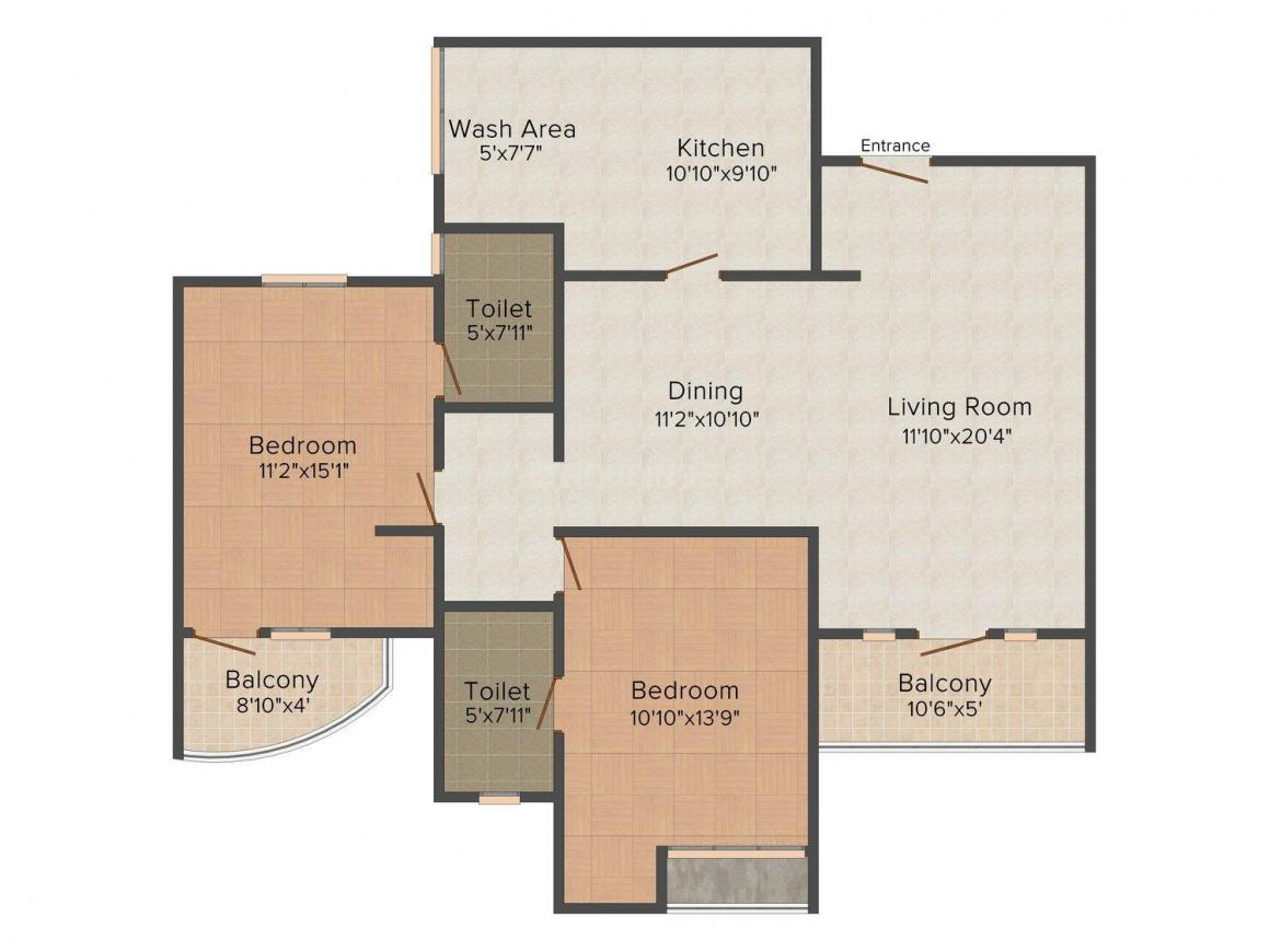 Floor Plan Image of 1339 - 1799 Sq.ft 2 BHK Apartment for buy in Olive Kalista Aleta