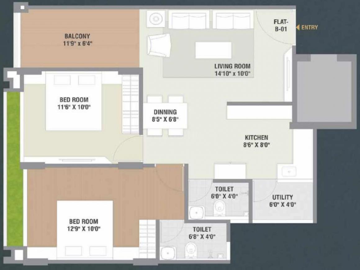 Vrajansh Shrut Ratnakar Floor Plan: 2 BHK Unit with Built up area of 612 sq.ft 1