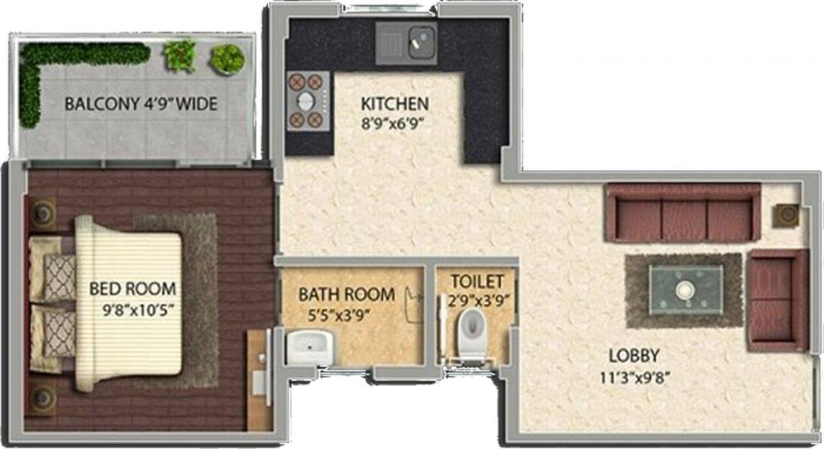 Pyramid Urban Homes II Floor Plan: 1 BHK Unit with Built up area of 335 sq.ft 1