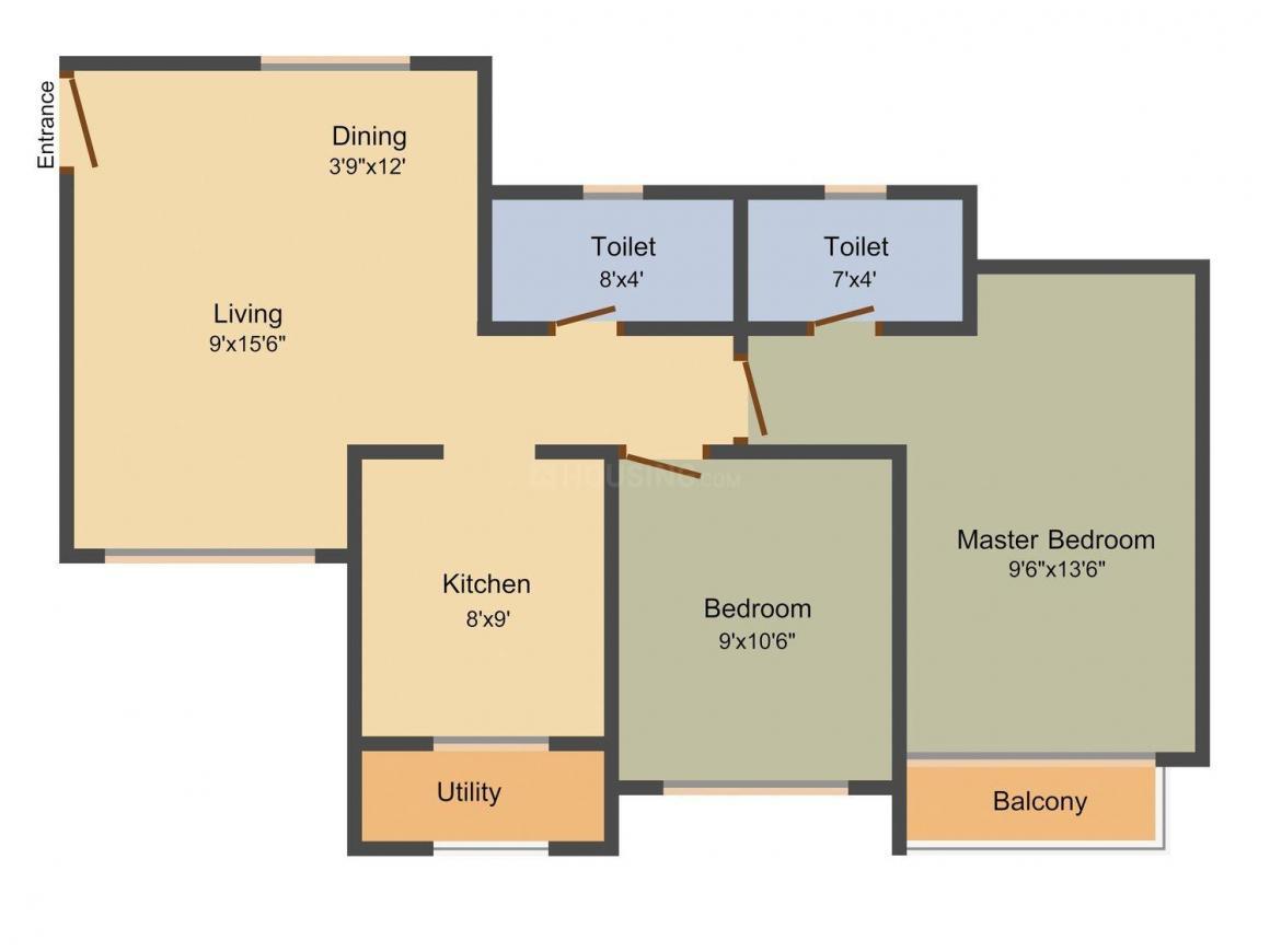 Floor Plan Image of 860.0 - 1319.0 Sq.ft 2 BHK Apartment for buy in Chheda Rameshwar Towers