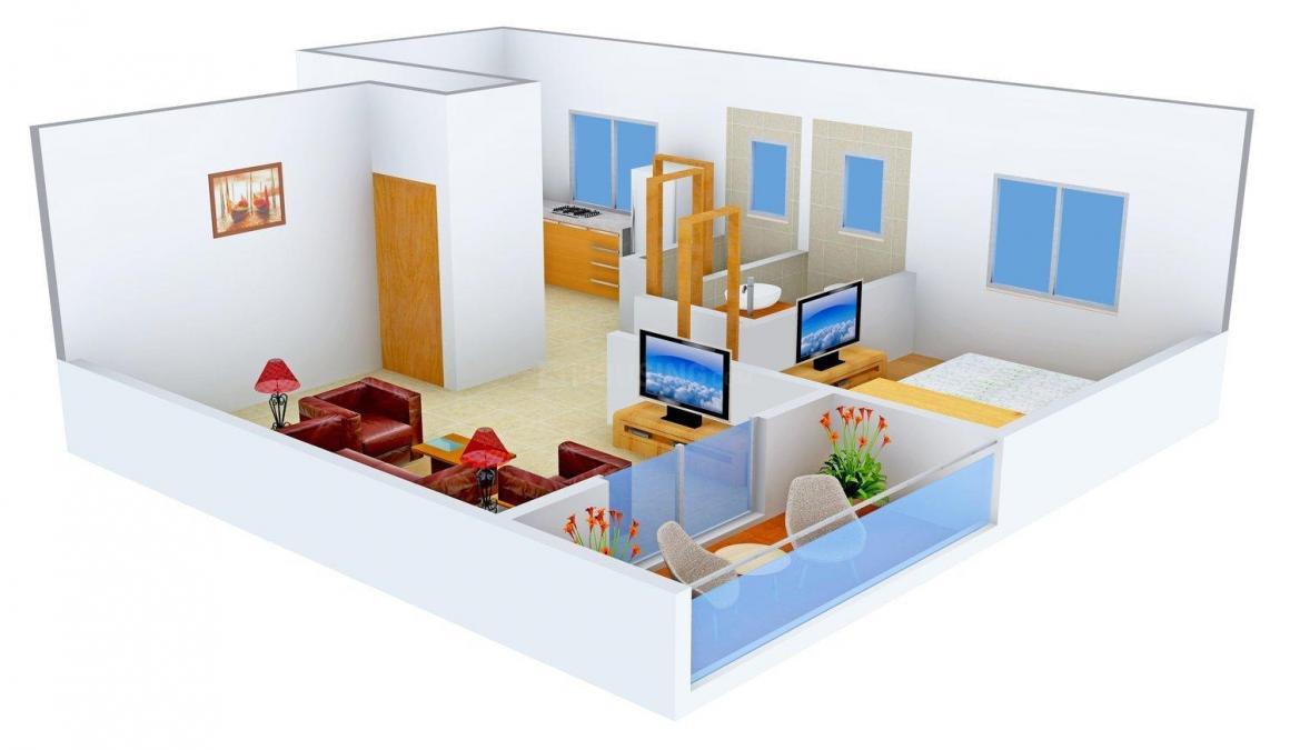 Floor Plan Image of 412.0 - 710.0 Sq.ft 1 RK Apartment for buy in Kshitij Construwell Vanraj Home
