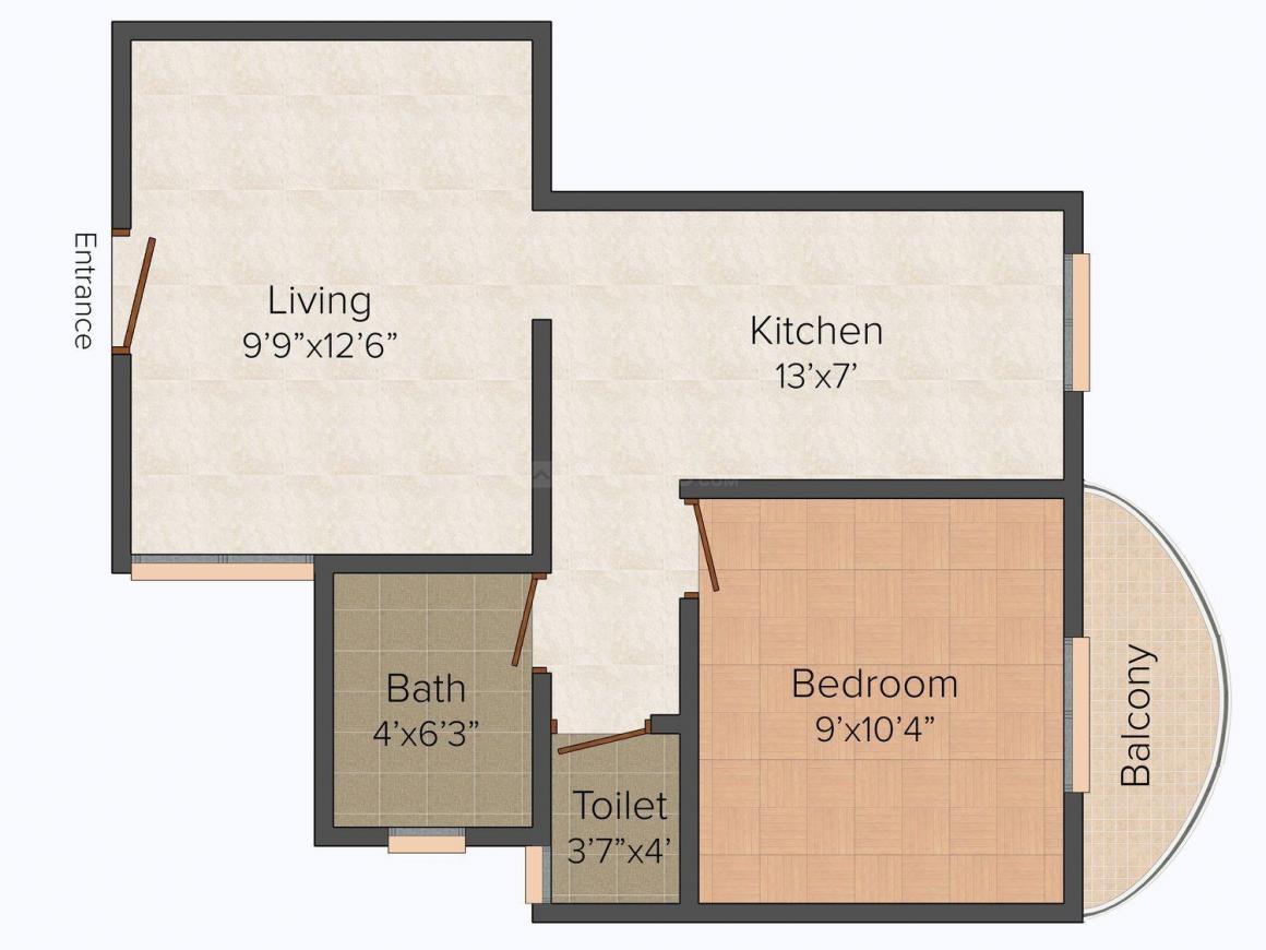 Floor Plan Image of 0 - 600.0 Sq.ft 1 BHK Apartment for buy in Maharashtra Enterprises Siddhivinayak Complex