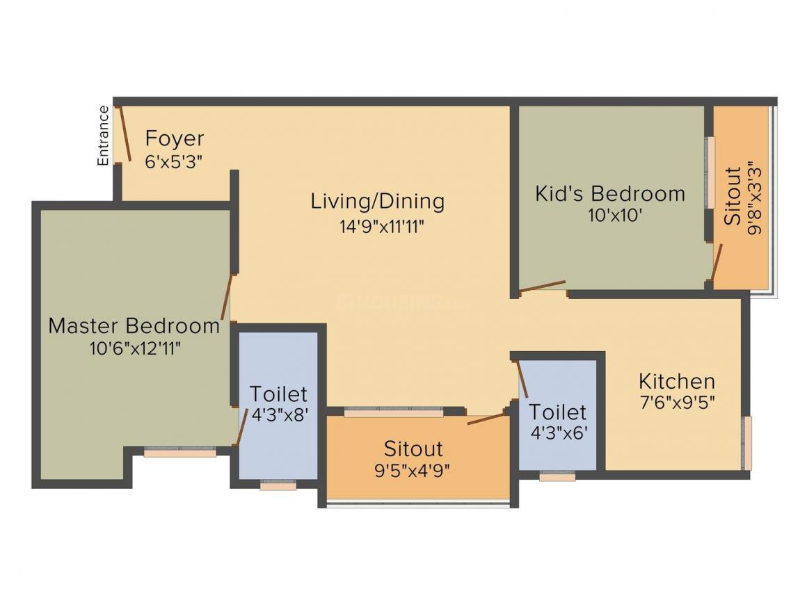 Floor Plan Image of 578.0 - 995.0 Sq.ft 1 BHK Apartment for buy in VSV Angela