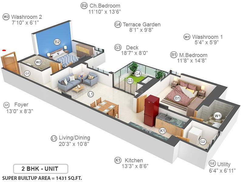 Total Environment In That Quiet Earth Floor Plan: 2 BHK Unit with Built up area of 1431 sq.ft 1