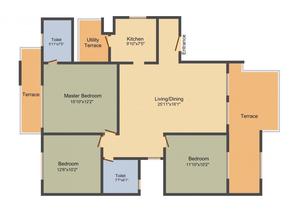 Vatika INXT Floors Floor Plan: 3 BHK Unit with Built up area of 1660 sq.ft 1