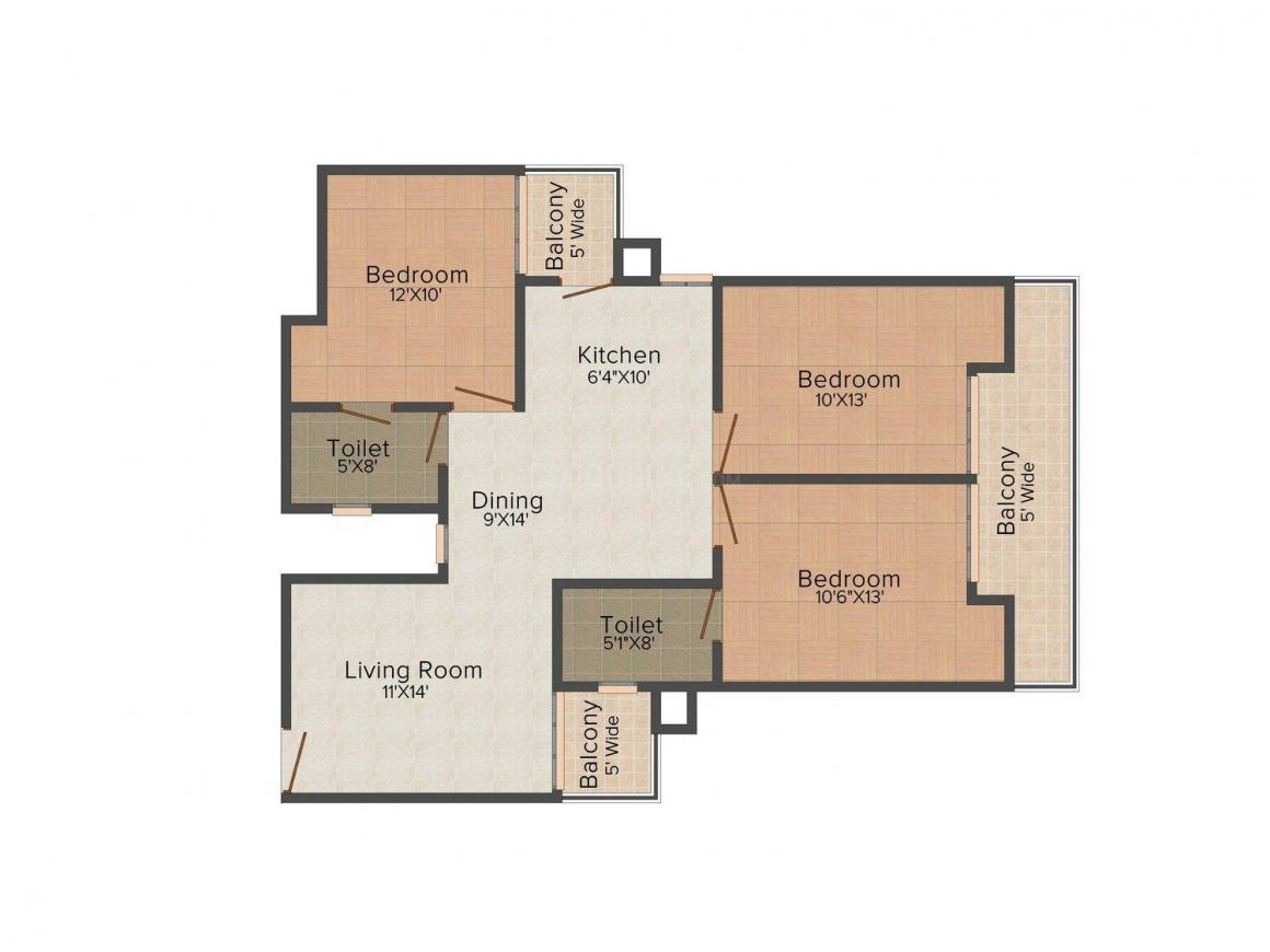 Realty Buzz Luxury Home 1 Floor Plan: 3 BHK Unit with Built up area of 1475 sq.ft 1