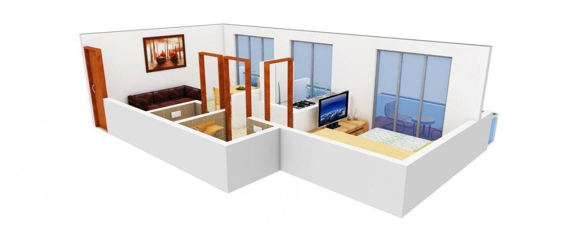 Floor Plan Image of 450 - 1200 Sq.ft 1 BHK Apartment for buy in KD Meghna Shivam