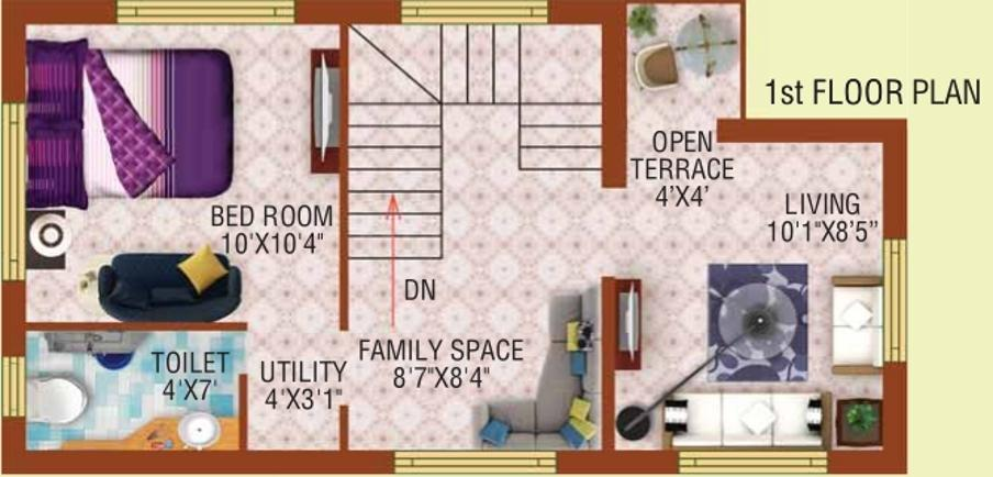 Bloomsbury Convicity Villas Floor Plan: 2 BHK Unit with Built up area of 895 sq.ft 1