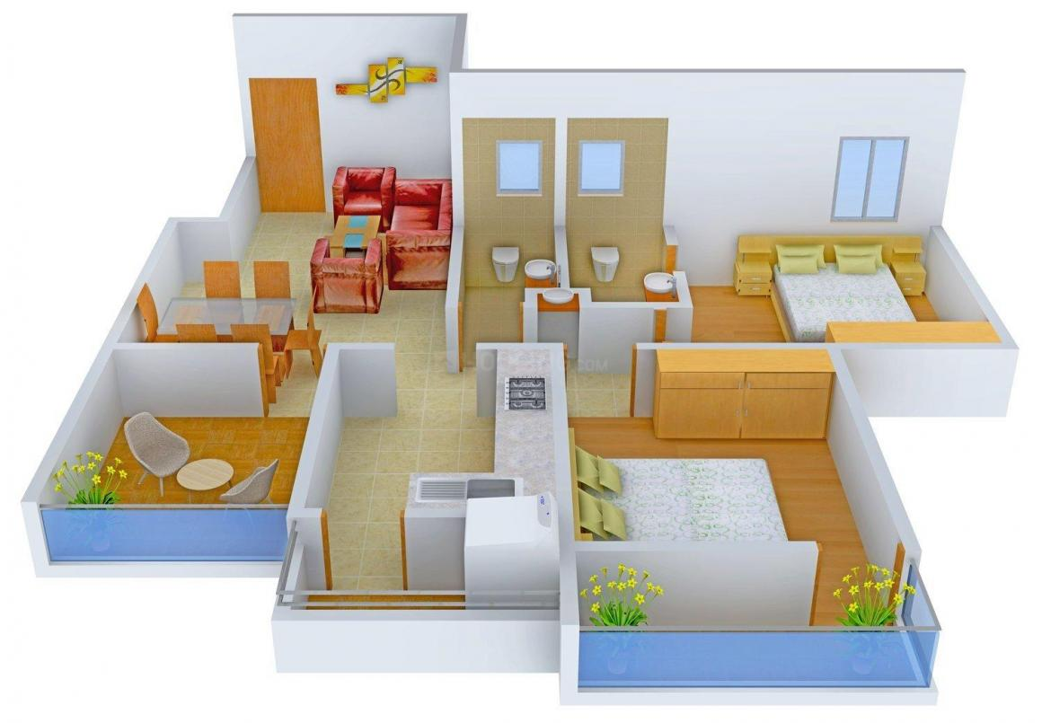 Floor Plan Image of 0 - 1040 Sq.ft 2 BHK Apartment for buy in Leverage Greens D