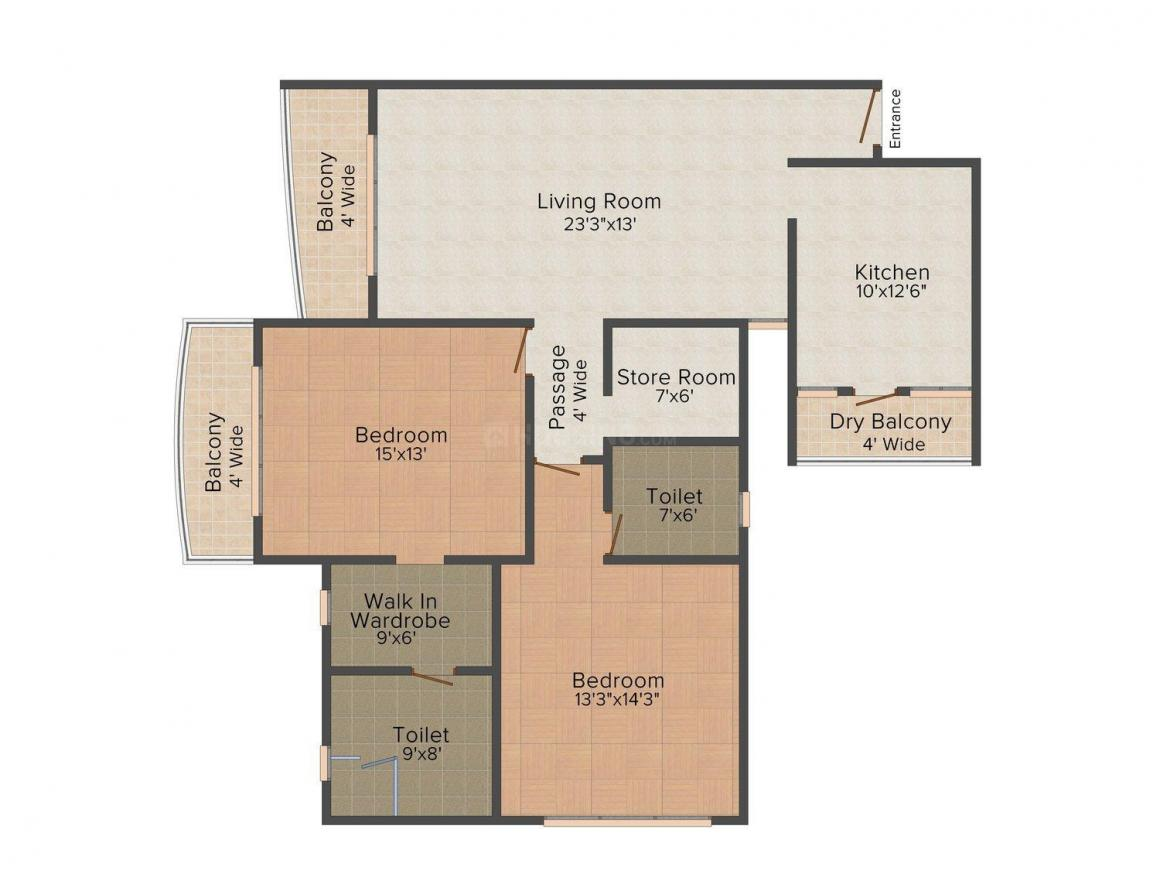 Riddhi Siddhi RSG's The Universe Galaxy Floor Plan: 2 BHK Unit with Built up area of 1844 sq.ft 1