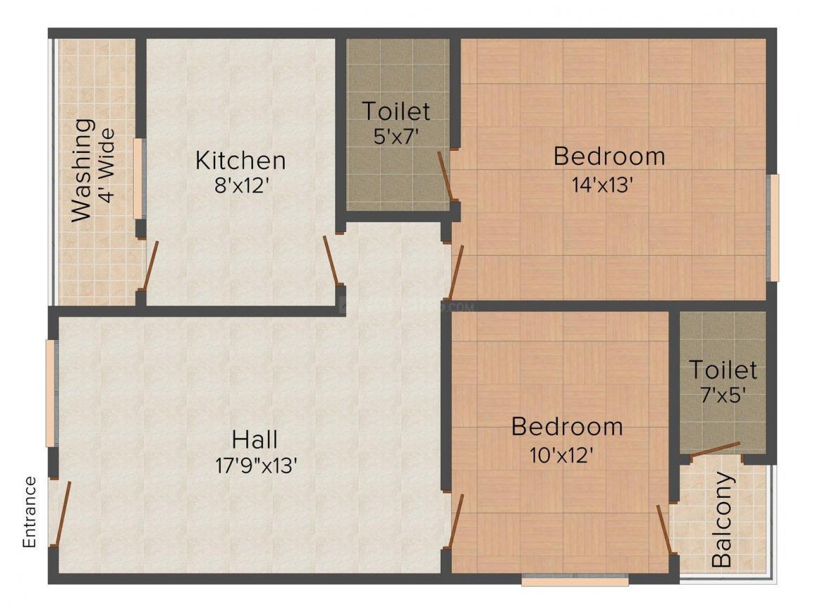 Floor Plan Image of 1220 - 2144 Sq.ft 2 BHK Apartment for buy in Sesharathnam's Land Mark