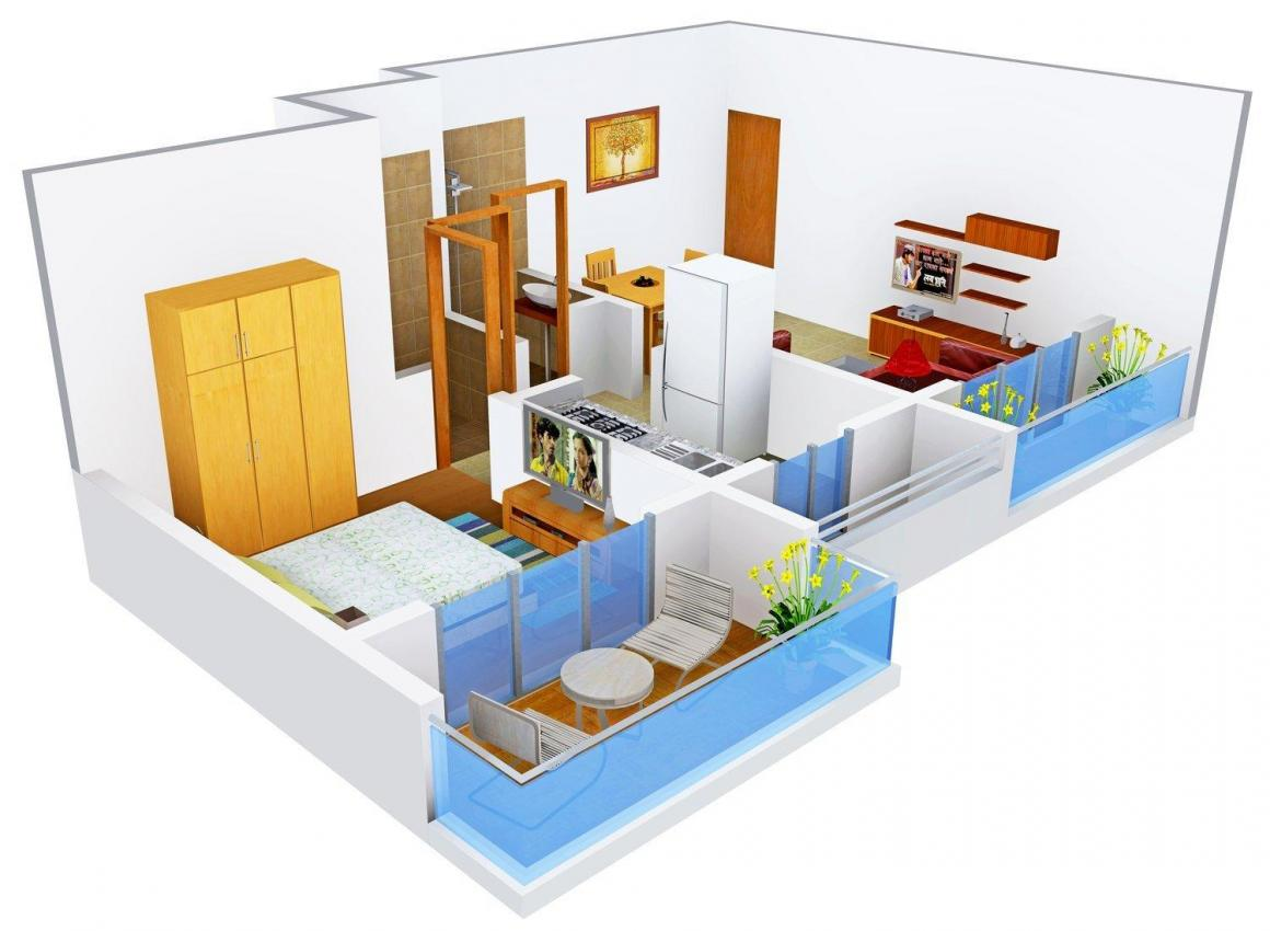Floor Plan Image of 441.0 - 742.0 Sq.ft 1 BHK Apartment for buy in Platinum Palazzo