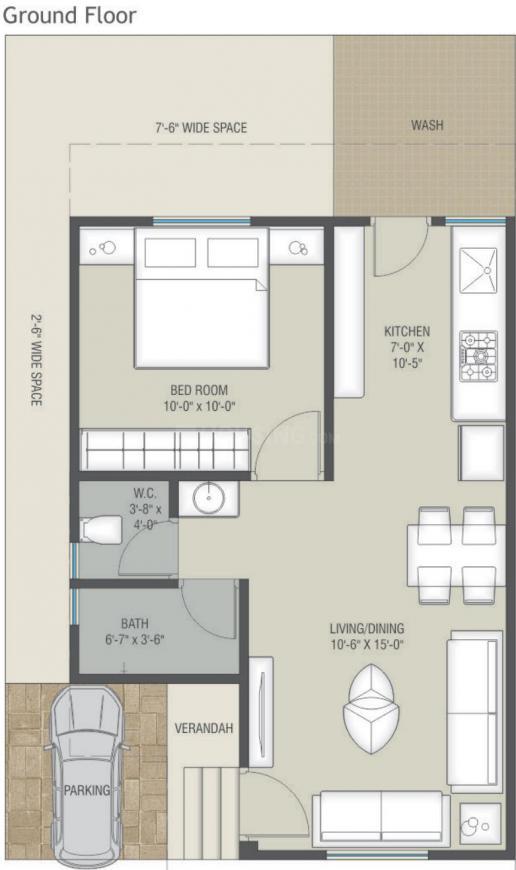 Shree Akshar Aashray Floor Plan: 1 BHK Unit with Built up area of 530 sq.ft 1