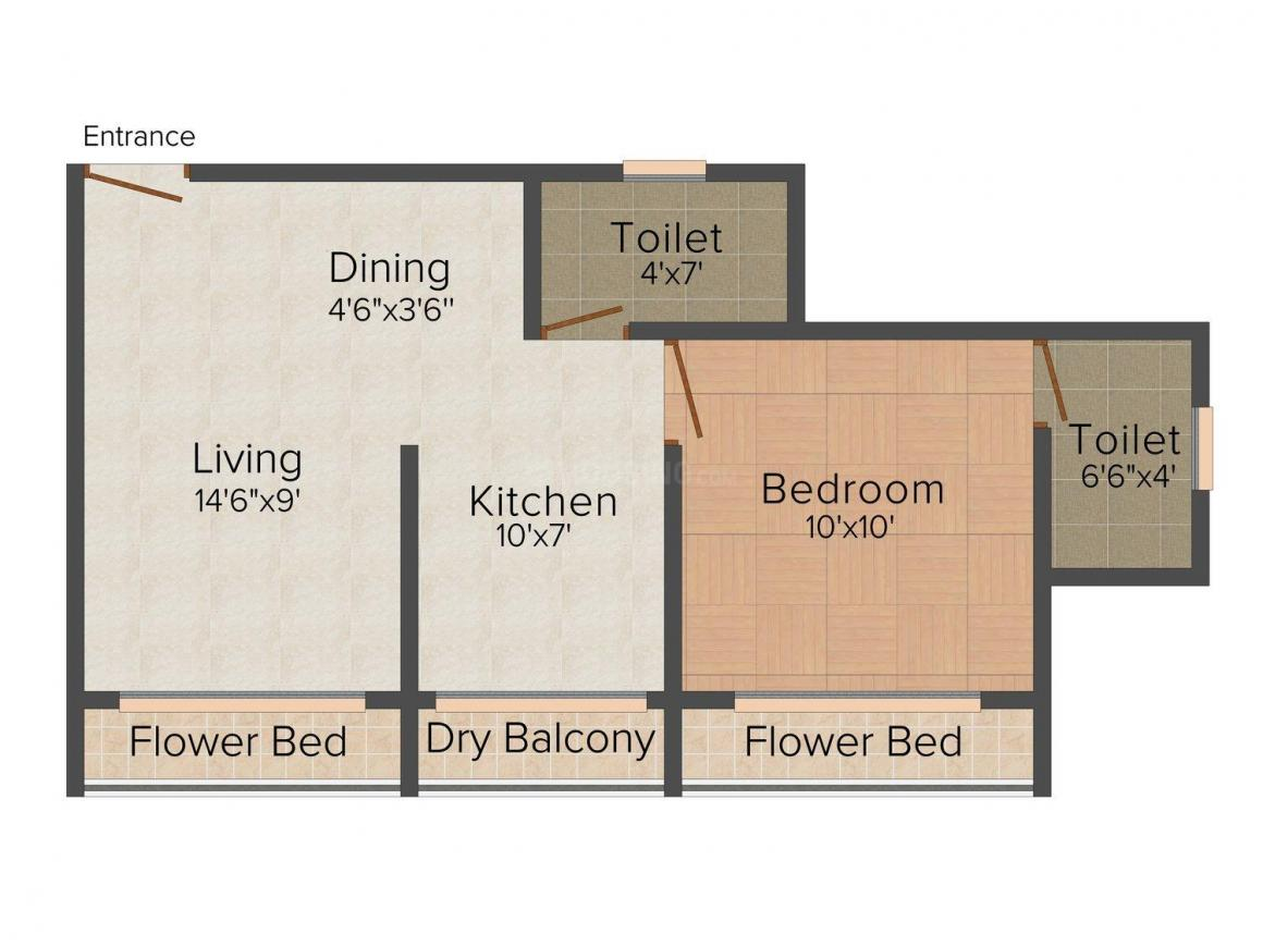 Floor Plan Image of 605 - 615 Sq.ft 1 BHK Apartment for buy in Pavani Parasnath Township