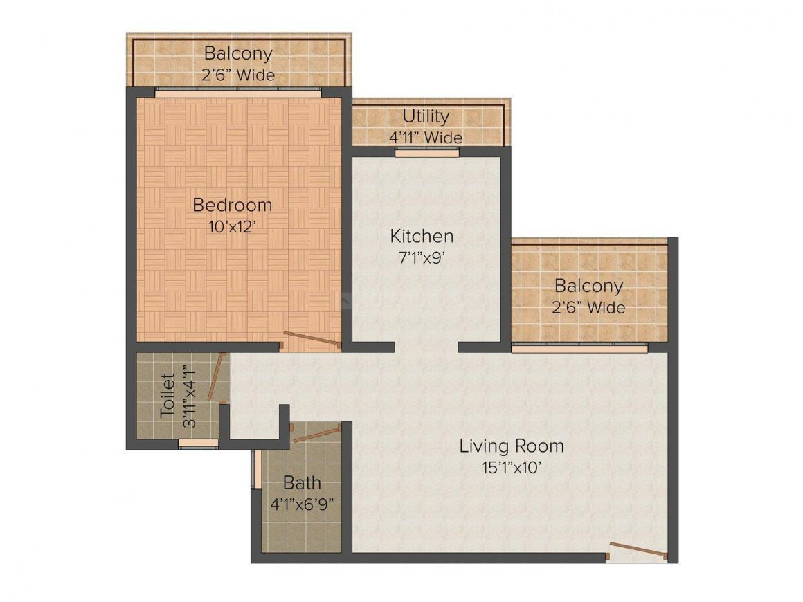 Floor Plan Image of 360.0 - 560.0 Sq.ft 1 BHK Apartment for buy in Nirvana Nest - Devad Panvel