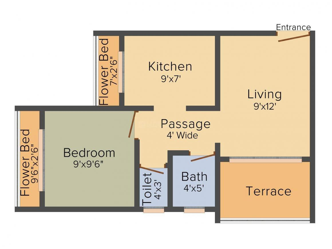 Floor Plan Image of 600 - 845 Sq.ft 1 BHK Apartment for buy in Yash Trinity