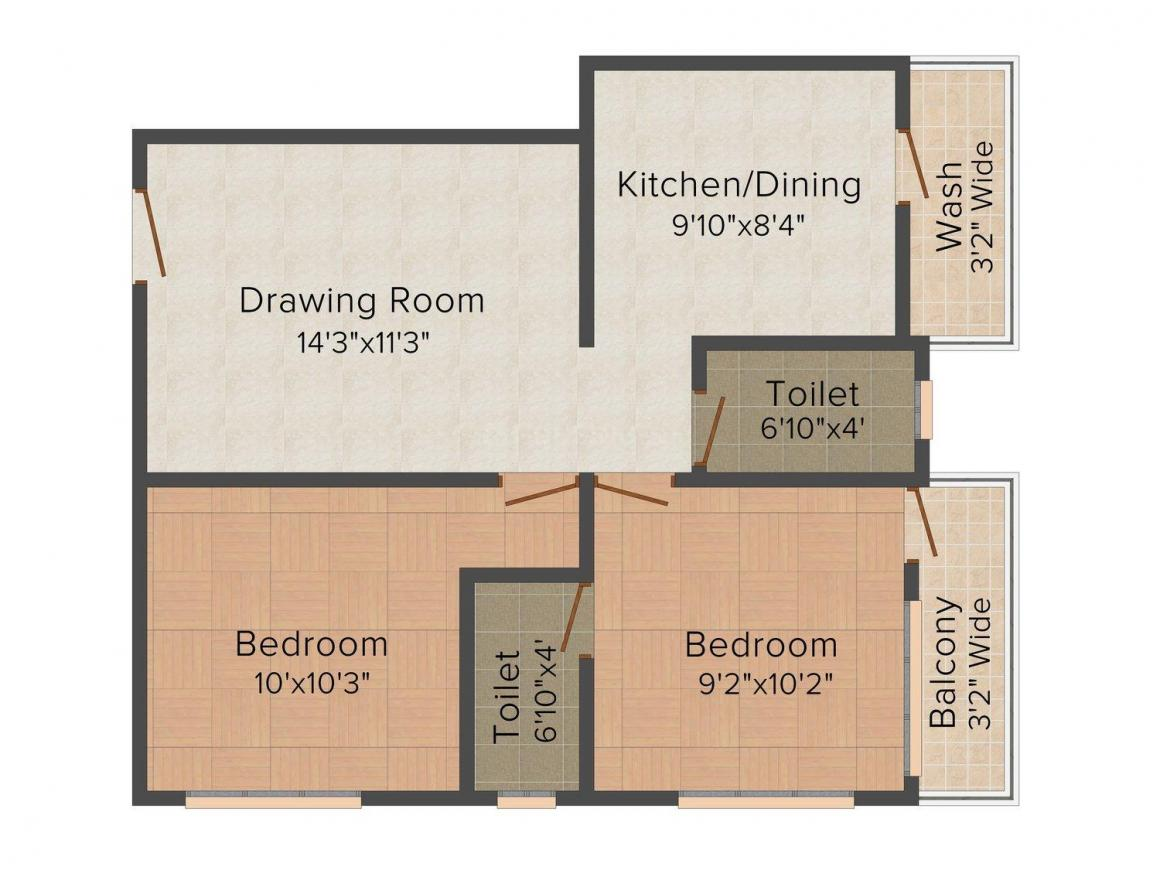 Floor Plan Image of 625 - 882 Sq.ft 2 BHK Apartment for buy in Kusum I