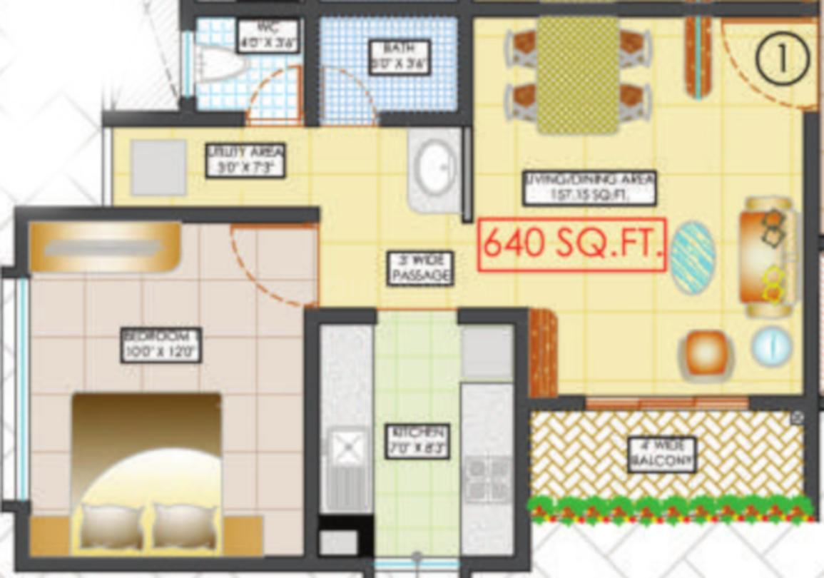 Sai Nest Floor Plan: 1 BHK Unit with Built up area of 640 sq.ft 1