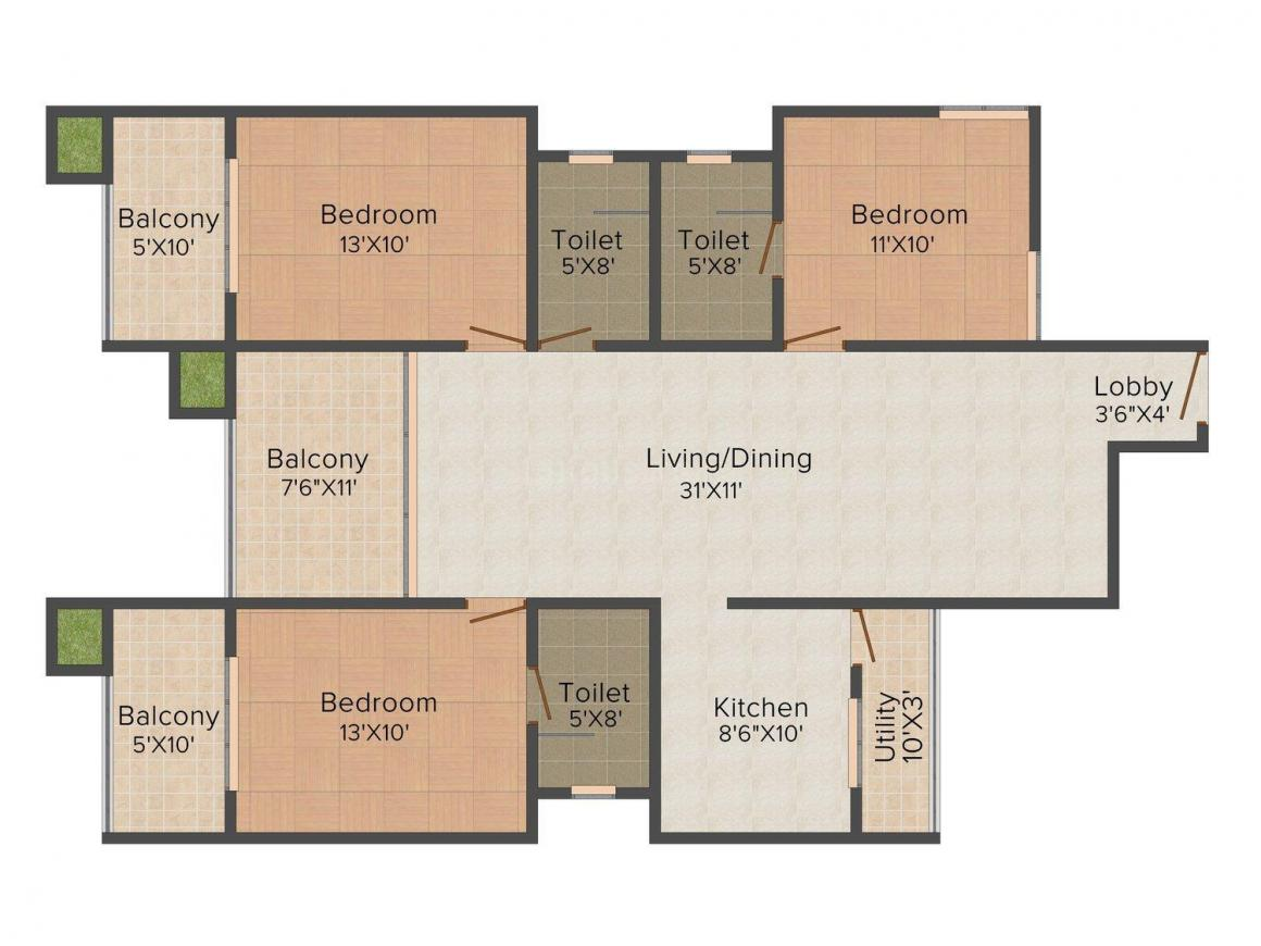 Floor Plan Image of 0 - 1570.0 Sq.ft 3 BHK Apartment for buy in Orient Plaza