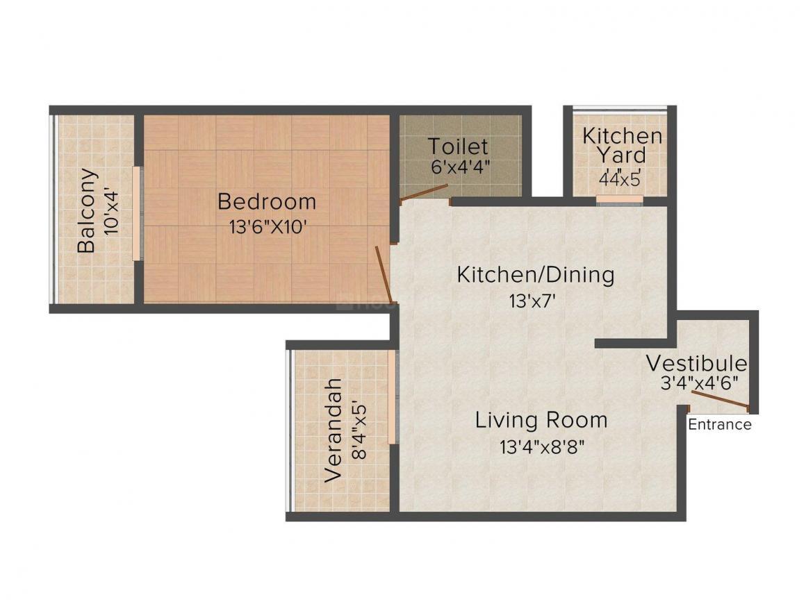 Sai Sampada Floor Plan: 1 BHK Unit with Built up area of 1000 sq.ft 1