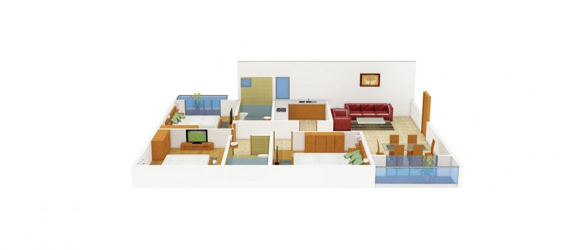 Floor Plan Image of 1437.0 - 1978.0 Sq.ft 3 BHK Apartment for buy in Forum Pravesh