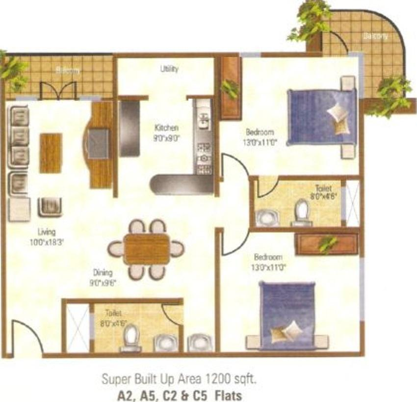 City Gateway Floor Plan: 2 BHK Unit with Built up area of 1200 sq.ft 1