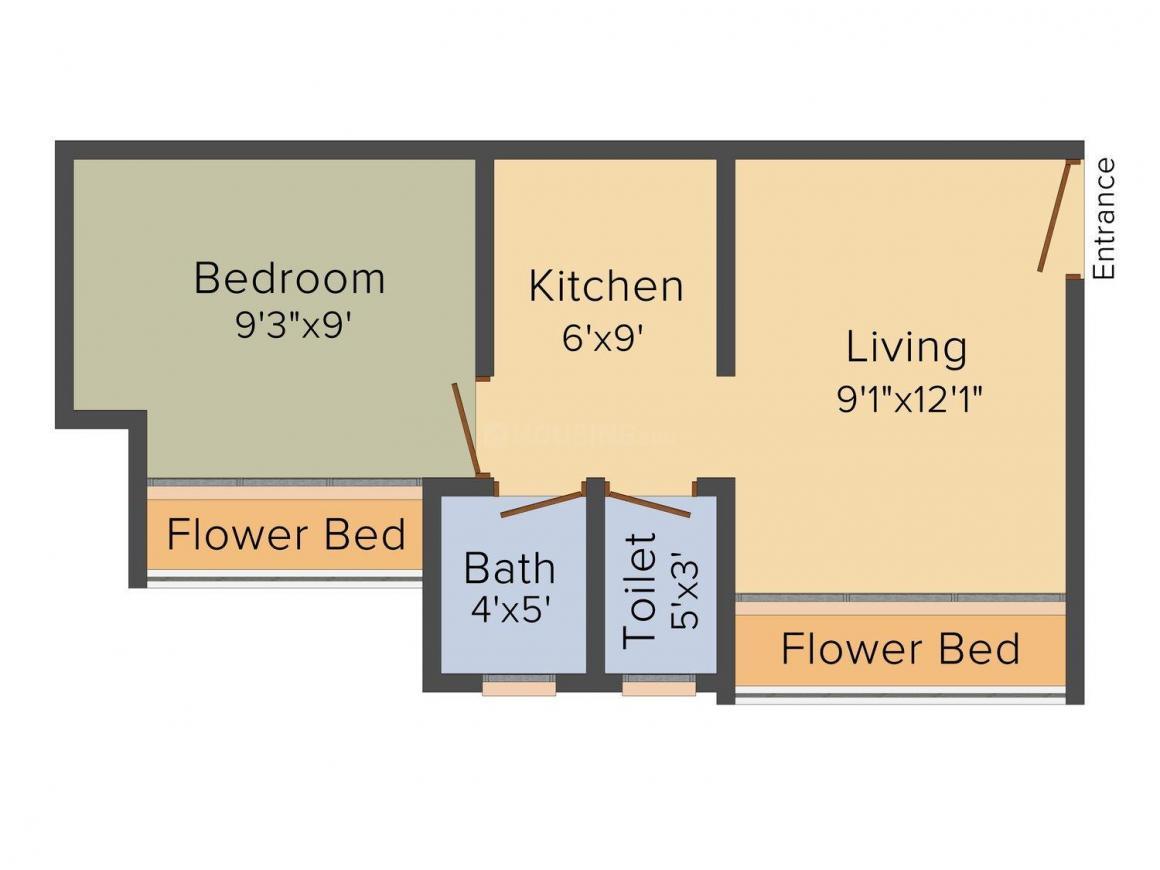 Kuber Aarambh Floor Plan: 1 BHK Unit with Built up area of 515 sq.ft 1