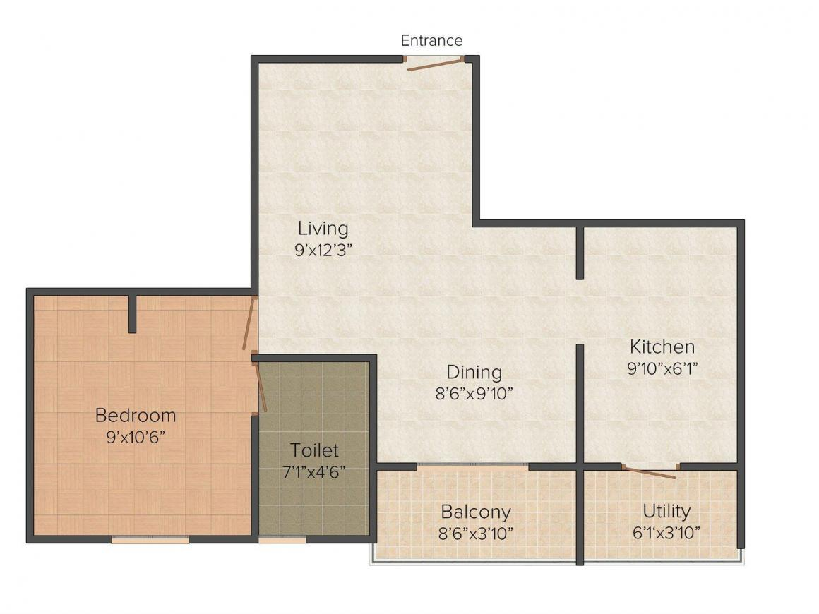 Floor Plan Image of 560 - 880 Sq.ft 1 BHK Apartment for buy in Grid Ambar