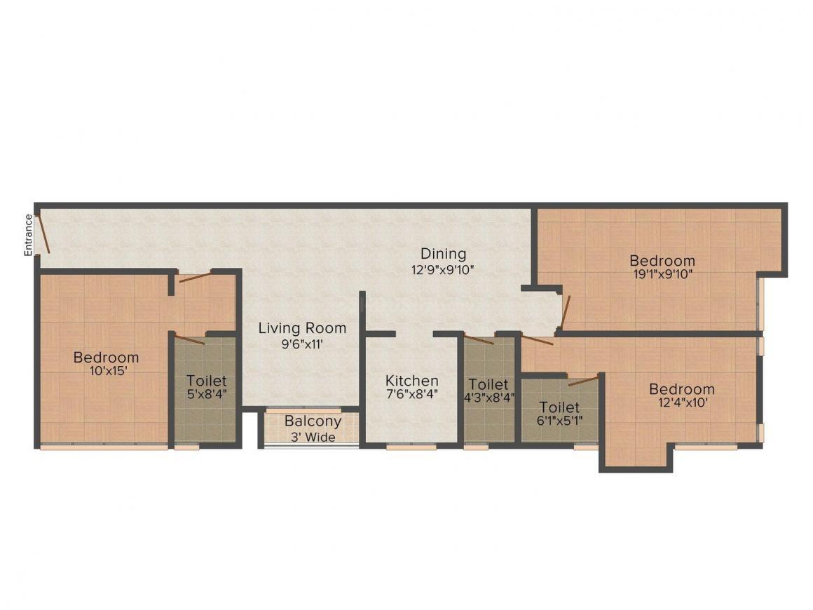 Floor Plan Image of 1825.0 - 3628.0 Sq.ft 3 BHK Apartment for buy in NVP 77 Estates
