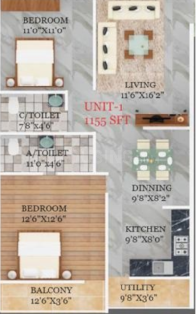 SB Royal Floor Plan: 2 BHK Unit with Built up area of 1155 sq.ft 1