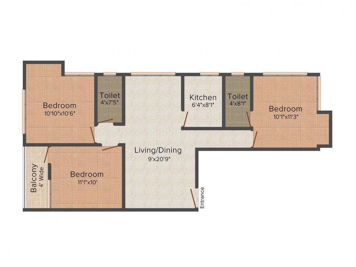 Floor Plan Image of 1365 - 1382 Sq.ft 3 BHK Apartment for buy in Gazebo Khanika