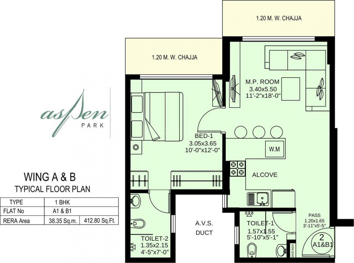 Floor Plan Image of 412.8 - 928.28 Sq.ft 1 BHK Apartment for buy in