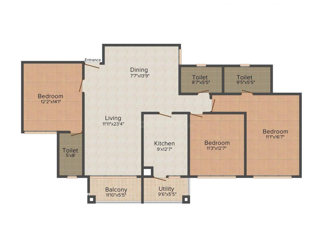 Jindal Orchid Towers 1 Floor Plan: 3 BHK Unit with Built up area of 1650 sq.ft 1