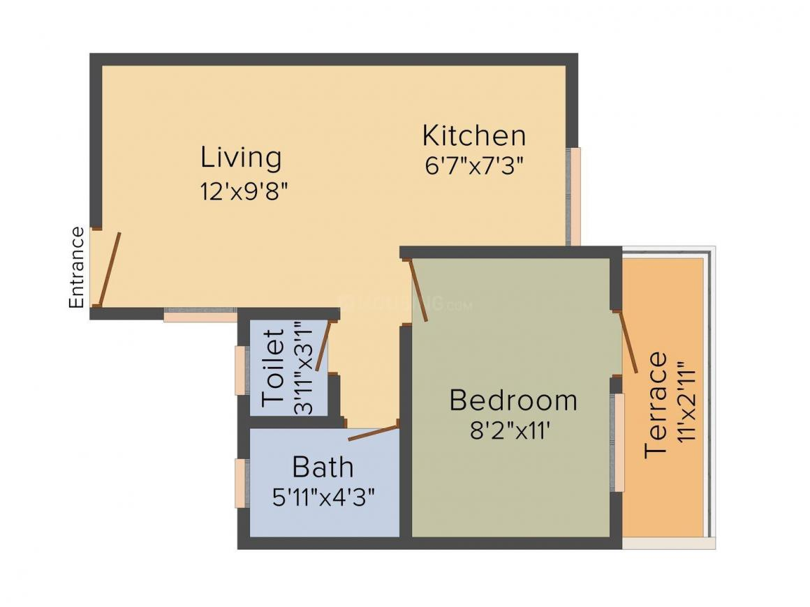 A.V. Bhat Sukhvastu Phase II Floor Plan: 1 BHK Unit with Built up area of 428 sq.ft 1