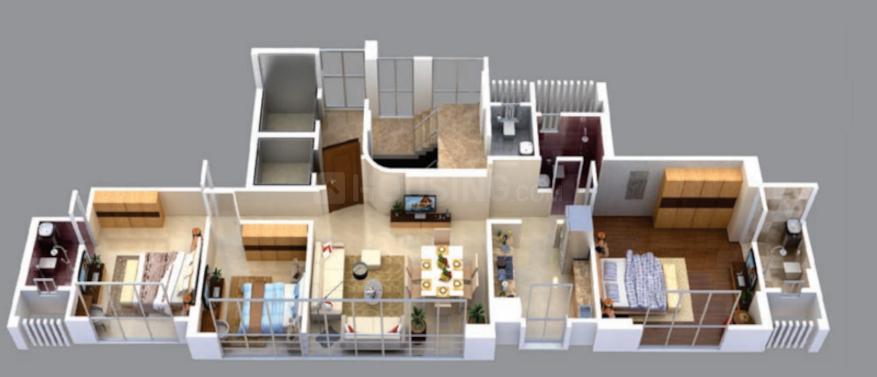 Ajmera Classique Floor Plan: 3 BHK Unit with Built up area of 1077 sq.ft 2