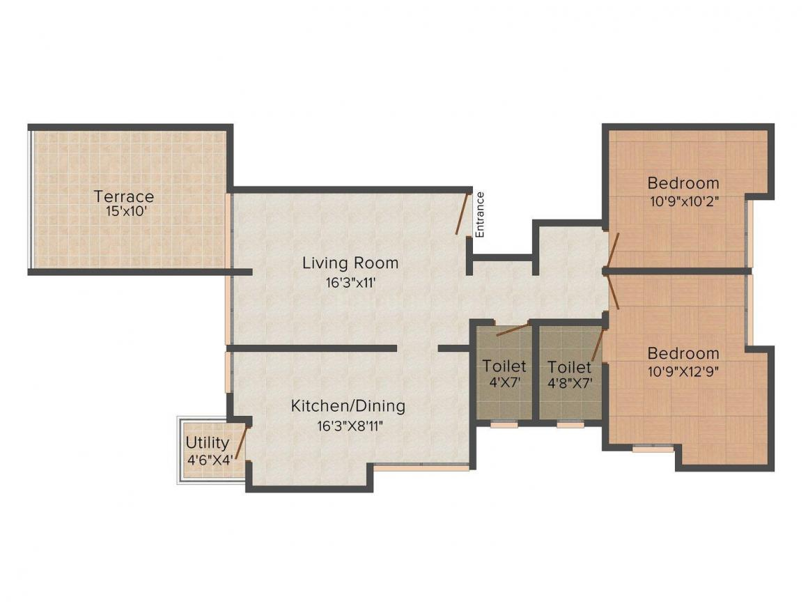 Dreamspace Shagun Floor Plan: 2 BHK Unit with Built up area of 1104 sq.ft 1