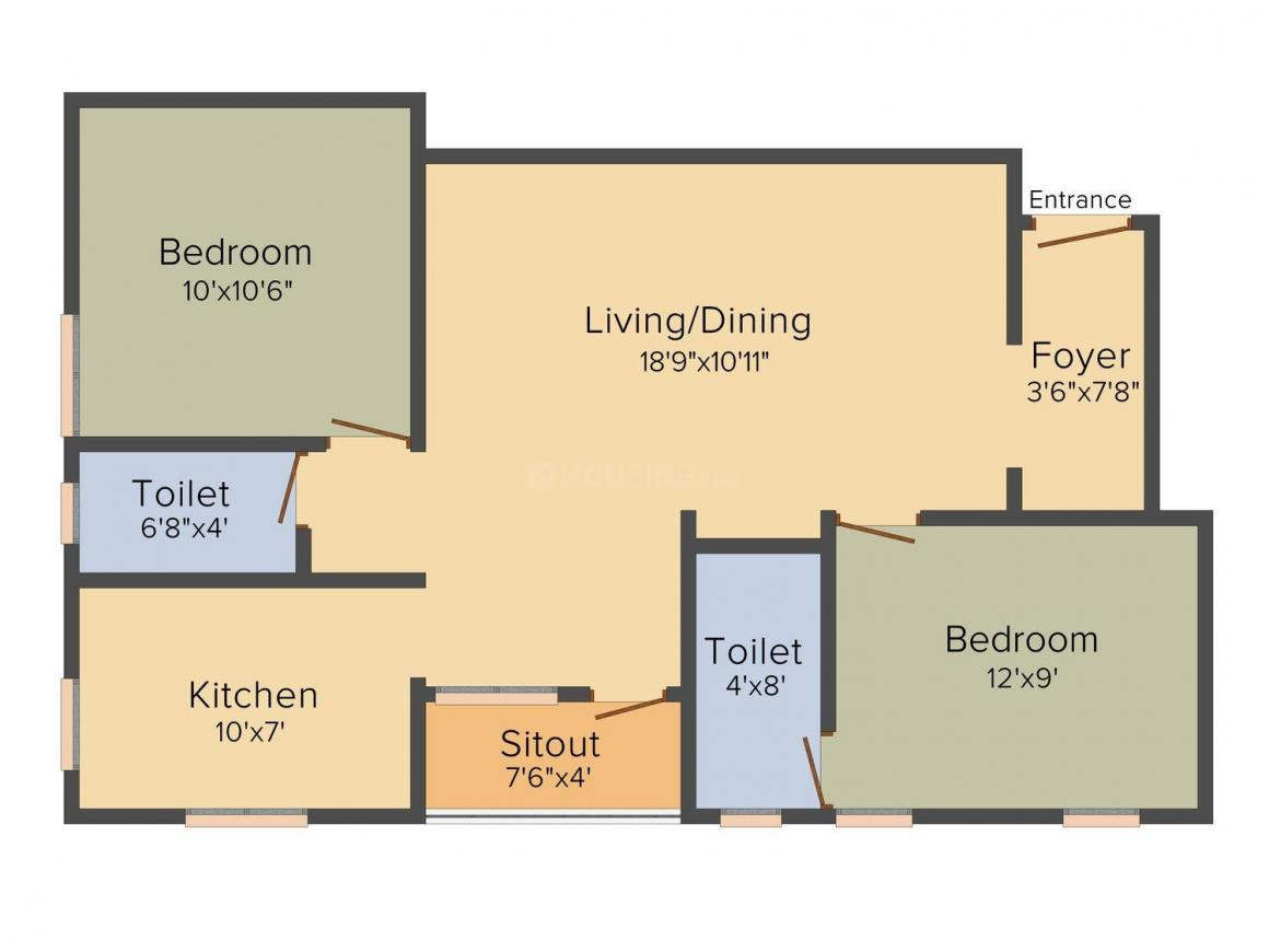 Floor Plan Image of 600 - 900 Sq.ft 1 BHK Apartment for buy in VSV Vasantham