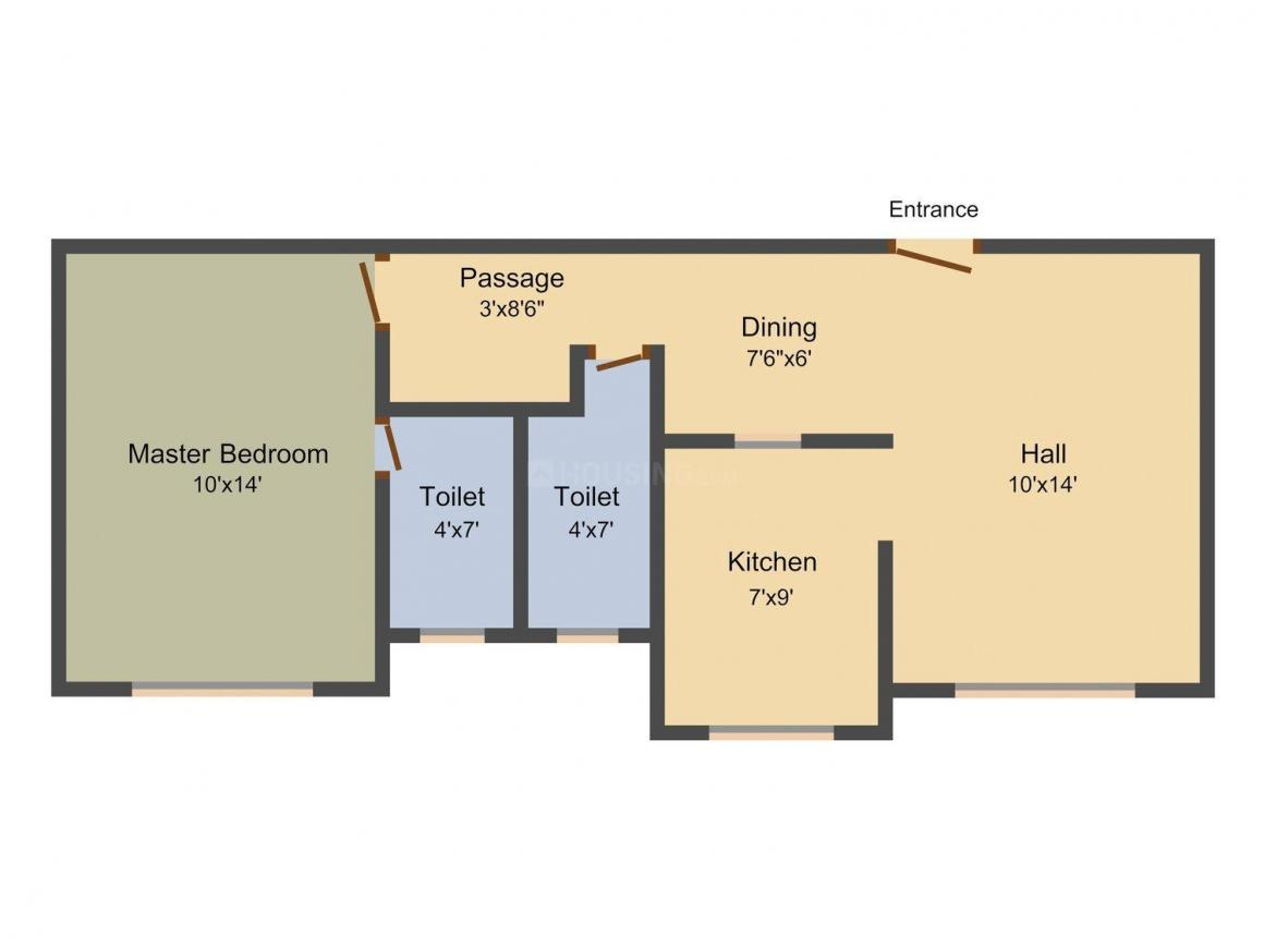 Floor Plan Image of 660 - 880 Sq.ft 1 BHK Apartment for buy in Dehdia Platinum Lawn
