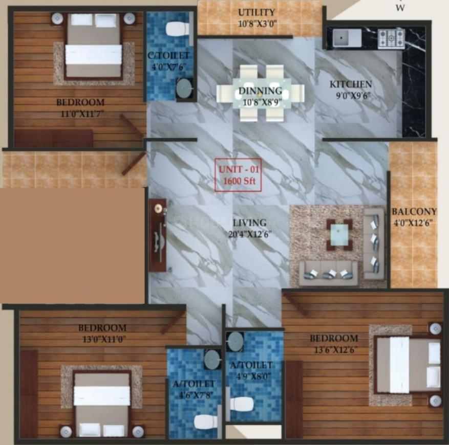 Laavanya Sumeru Elite Floor Plan: 3 BHK Unit with Built up area of 1600 sq.ft 1
