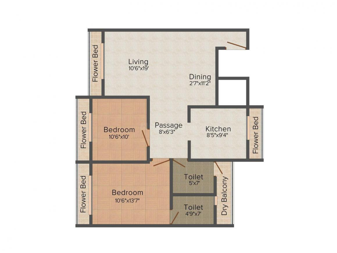 Floor Plan Image of 0 - 1250.0 Sq.ft 2 BHK Apartment for buy in Asha Entrade Tulsi Gaurav