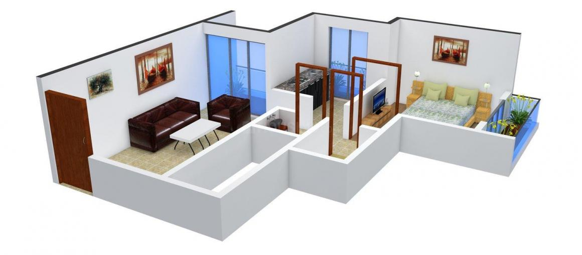 Floor Plan Image of 398.0 - 558.0 Sq.ft 1 BHK Apartment for buy in Space India Green Earth