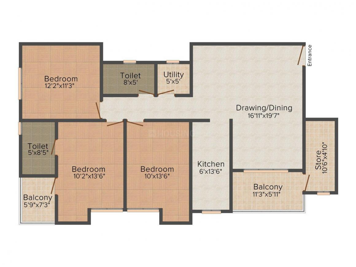 Floor Plan Image of 0 - 1530 Sq.ft 3 BHK Apartment for buy in Ashiana Accacia