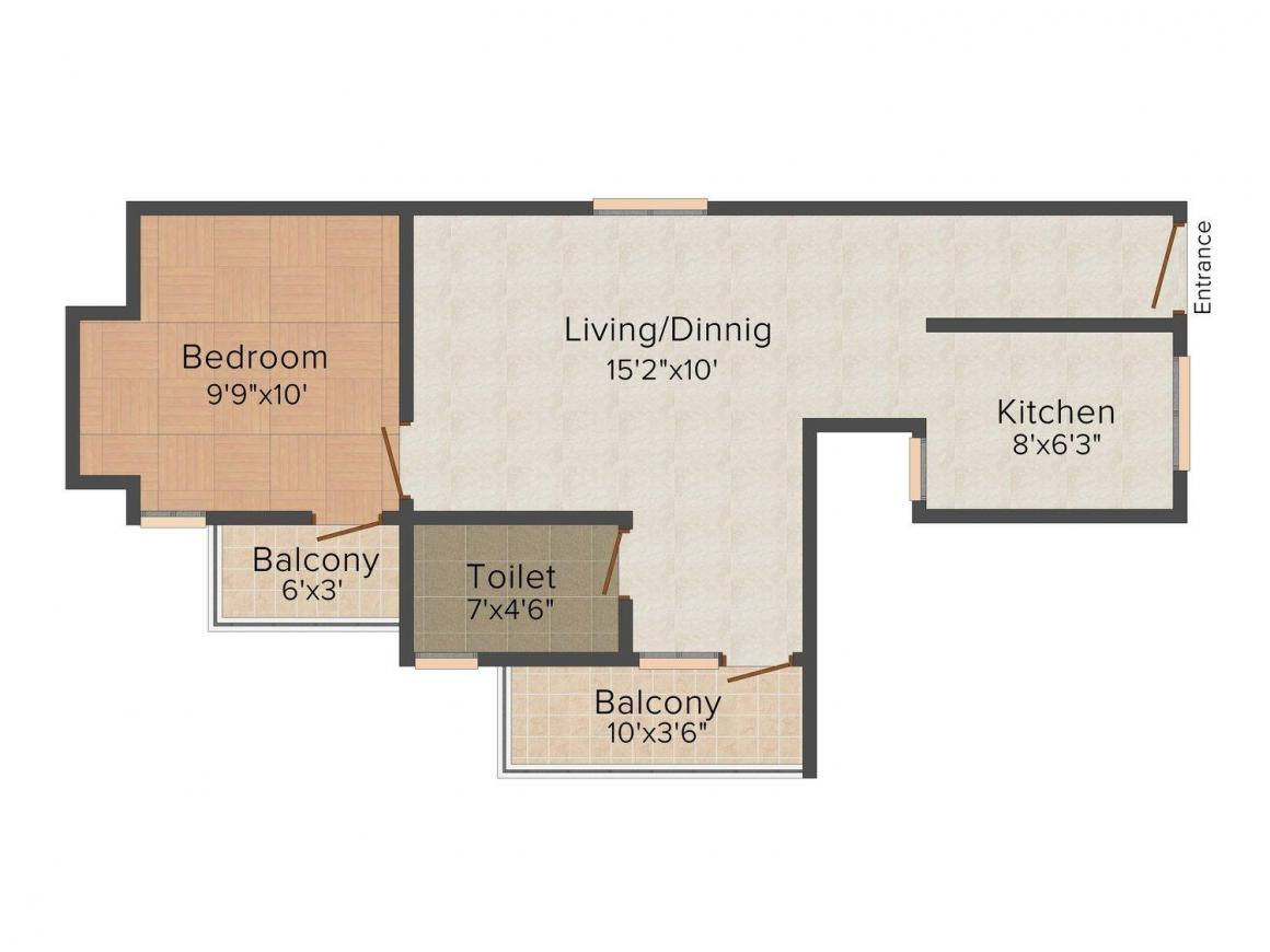Floor Plan Image of 649 - 916 Sq.ft 1 BHK Apartment for buy in MM Sai Baghya