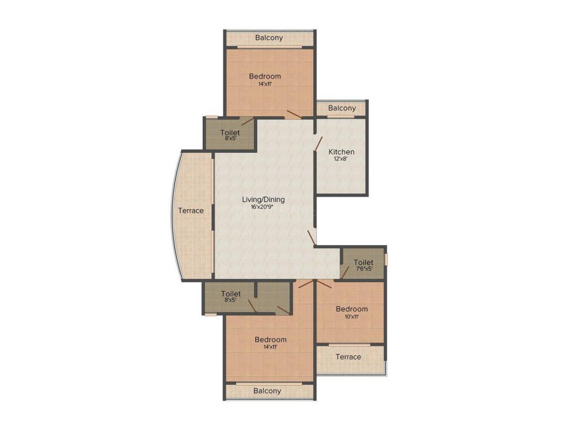 Floor Plan Image of 1550 - 3300 Sq.ft 3 BHK Apartment for buy in Siddhi Grandeur