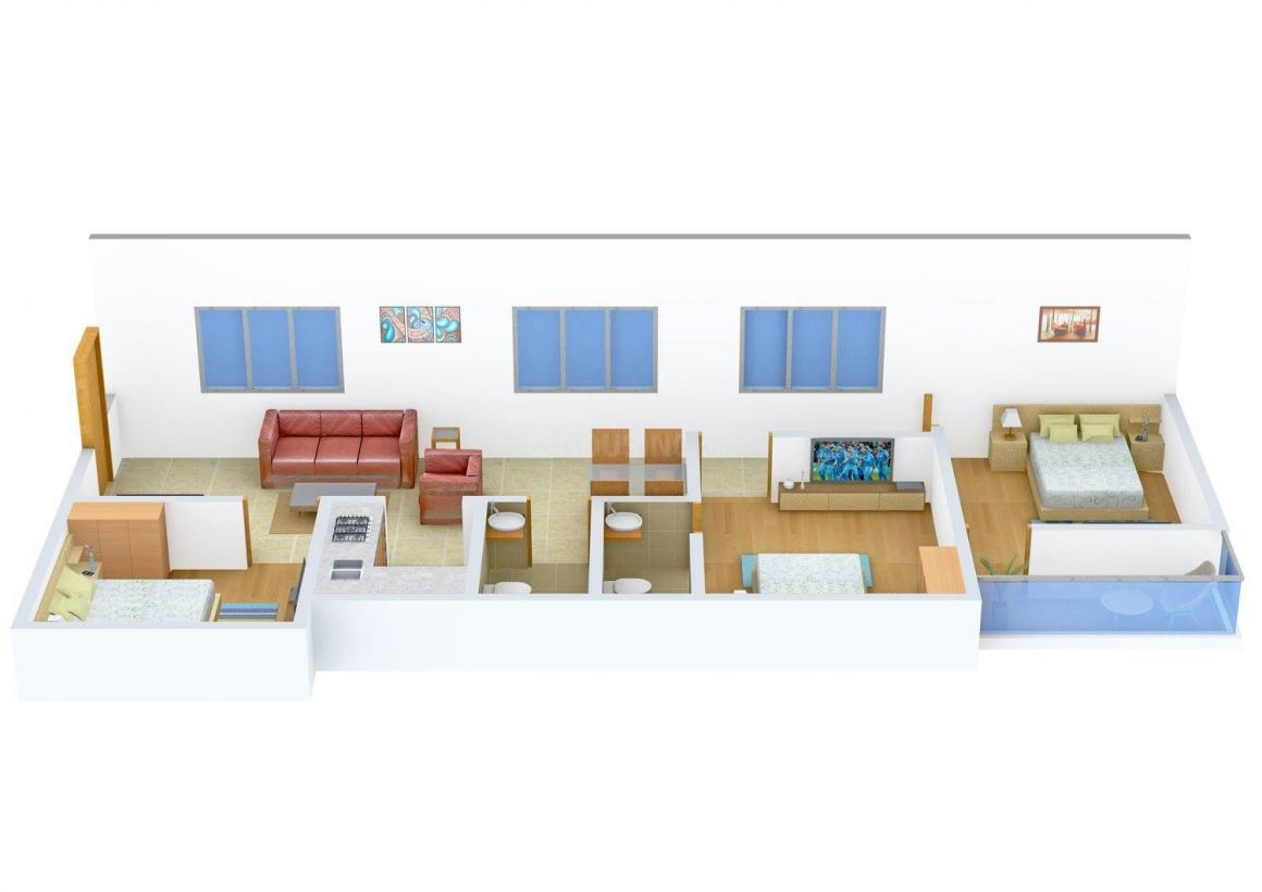 Floor Plan Image of 1085.0 - 1123.0 Sq.ft 3 BHK Apartment for buy in Ajelia Apartment