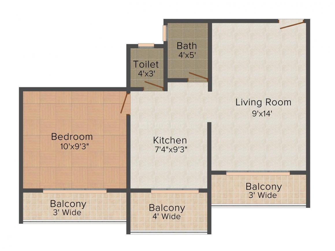 Floor Plan Image of 602.0 - 913.0 Sq.ft 1 BHK Apartment for buy in Dev Exotica